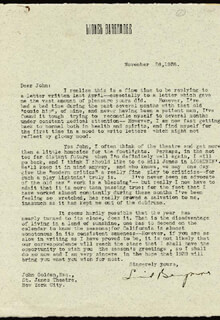 LIONEL BARRYMORE - TYPED LETTER SIGNED 11/26/1938