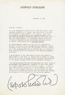 LEOPOLD STOKOWSKI - TYPED LETTER SIGNED 12/08/1969