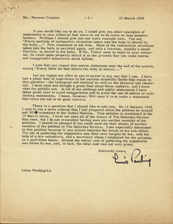 Autographs: LINUS PAULING - TYPED LETTER SIGNED 03/25/1958