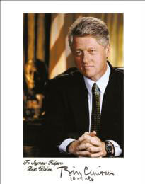 PRESIDENT WILLIAM J. BILL CLINTON - AUTOGRAPHED INSCRIBED PHOTOGRAPH 10/09/1996