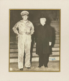 GENERAL DOUGLAS MACARTHUR - AUTOGRAPHED SIGNED PHOTOGRAPH CO-SIGNED BY: FRANCIS CARDINAL SPELLMAN