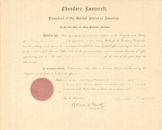 PRESIDENT THEODORE ROOSEVELT - CIVIL APPOINTMENT SIGNED 07/23/1904 CO-SIGNED BY: ASSOCIATE JUSTICE WILLIAM H. MOODY