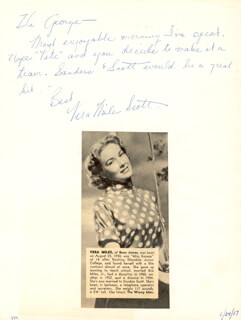 VERA MILES - AUTOGRAPH NOTE SIGNED CO-SIGNED BY: BURL IVES