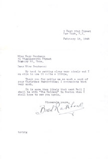 BASIL RATHBONE - TYPED LETTER SIGNED 02/18/1948