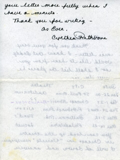 CYNTHIA RATHBONE - AUTOGRAPH LETTER SIGNED CIRCA 1960