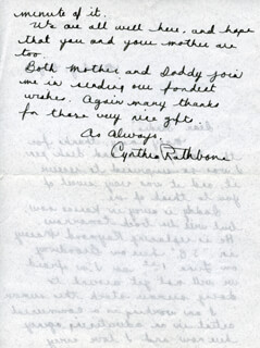 CYNTHIA RATHBONE - AUTOGRAPH LETTER SIGNED 05/11
