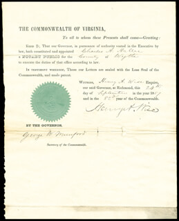 Autographs: BRIGADIER GENERAL HENRY A. WISE - CIVIL APPOINTMENT SIGNED 09/24/1857