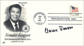 FIRST LADY NANCY DAVIS REAGAN - INAUGURATION DAY COVER SIGNED