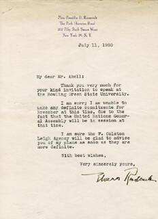 FIRST LADY ELEANOR ROOSEVELT - TYPED LETTER SIGNED 07/11/1950