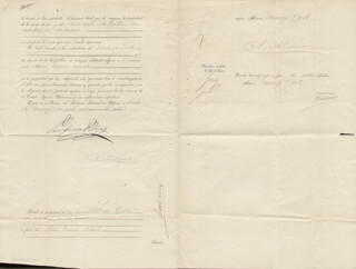 Autographs: PRESIDENT PORFIRIO DIAZ (MEXICO) - DOCUMENT SIGNED 03/07/1908 CO-SIGNED BY: GOVERNOR OLEGARIO MOLINA SOLIS