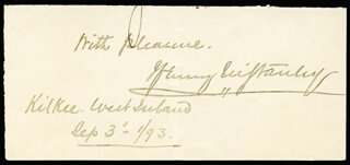 HENRY M. STANLEY - AUTOGRAPH SENTIMENT SIGNED 09/03/1893