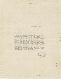 ERNIE PYLE - TYPED LETTER SIGNED 11/03/1944