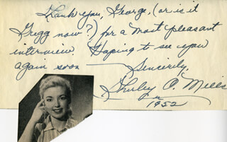 SHIRLEY O. MILLS - AUTOGRAPH NOTE SIGNED 1952