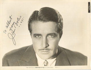 Autographs: JOHN BOLES - INSCRIBED PRINTED PHOTOGRAPH SIGNED IN INK 1941
