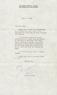 JOAN CRAWFORD - TYPED LETTER SIGNED 04/01/1957