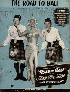 BING CROSBY - SHEET MUSIC SIGNED CIRCA 1952