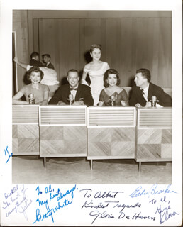 MAKE THE CONNECTION TV CAST - AUTOGRAPHED INSCRIBED PHOTOGRAPH CO-SIGNED BY: EDDIE BRACKEN, GLORIA DEHAVEN, BETTY WHITE, GENE KLAVAN