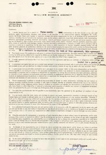 JACKIE THE GREAT ONE GLEASON - CONTRACT SIGNED 05/18/1948