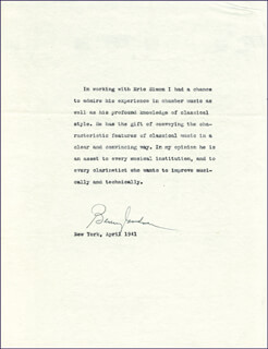 BENNY GOODMAN - REFERENCE LETTER SIGNED 4/1941