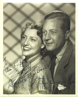 JEANETTE MacDONALD - AUTOGRAPHED INSCRIBED PHOTOGRAPH CO-SIGNED BY: GENE RAYMOND
