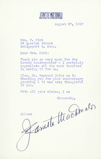 JEANETTE MacDONALD - TYPED LETTER SIGNED 08/27/1957