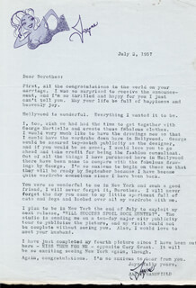 JAYNE MANSFIELD - TYPED LETTER SIGNED 07/02/1957