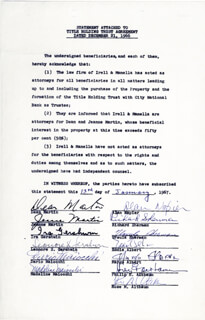 DEAN MARTIN - DOCUMENT SIGNED 01/13/1967 CO-SIGNED BY: IRA GERSHWIN, EDDIE ALBERT, ALAN NAPIER, RICHARD M. SHERMAN, MARGO (MARGO ALBERT) , JEANNE MARTIN, DARIO MAIOCCHI