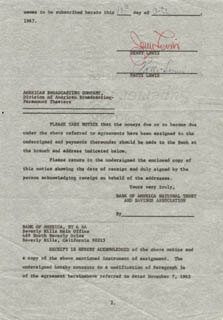 JERRY LEWIS - DOCUMENT SIGNED 10/10/1967 CO-SIGNED BY: PATTI PALMER (EX-MRS. JERRY) LEWIS