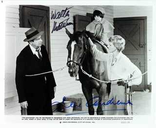 LITTLE MISS MARKER MOVIE CAST - AUTOGRAPHED SIGNED PHOTOGRAPH CIRCA 1980 CO-SIGNED BY: JULIE ANDREWS, WALTER MATTHAU