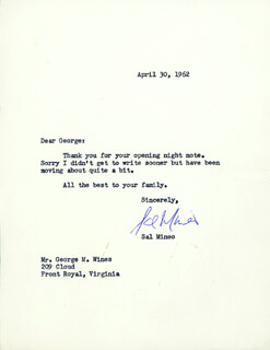 SAL MINEO - TYPED LETTER SIGNED 04/30/1962