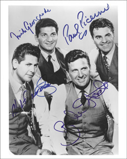 UNTOUCHABLES TV CAST - AUTOGRAPHED SIGNED PHOTOGRAPH CO-SIGNED BY: PAUL PICERNI, ROBERT STACK, NICK GEORGIADE, ABEL FERNANDEZ