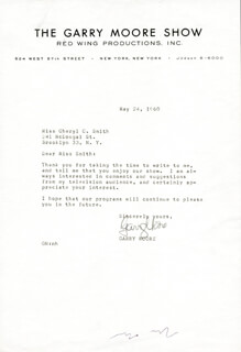 GARRY MOORE - TYPED LETTER SIGNED 05/24/1960