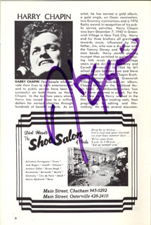 Autographs: HARRY CHAPIN - SHOW BILL SIGNED CIRCA 1978