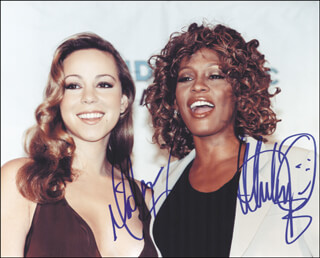 WHITNEY HOUSTON - AUTOGRAPHED SIGNED PHOTOGRAPH CO-SIGNED BY: MARIAH CAREY