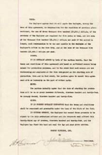 WILLIAM T. TILDEN II - CONTRACT SIGNED