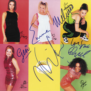 THE SPICE GIRLS - RECORD ALBUM SLEEVE SIGNED CO-SIGNED BY: SPICE GIRLS (MELANIE JAYNE SPORTY SPICE CHISHOLM), SPICE GIRLS (MELANIE JANINE SCARY SPICE BROWN), SPICE GIRLS (VICTORIA POSH SPICE ADAMS BECKHAM), SPICE GIRLS (EMMA LEE BABY SPICE BUNTON), SPICE GIRLS (GERI GINGER SPICE HALLIWELL)