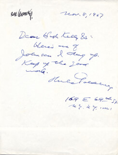 RUBE GOLDBERG - AUTOGRAPH LETTER SIGNED 11/08/1967