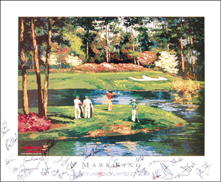 Autographs: ARNOLD PALMER - POSTER SIGNED CIRCA 1990 CO-SIGNED BY: CRAIG STADLER, BEN CRENSHAW, FUZZY ZOELLER, DAVE STOCKTON, NICK FALDO, LARRY MIZE, PETER JACOBSEN, FRED COUPLES, TOM WATSON, RAY FLOYD, JIM FURYK, ERNIE ELS, D. A. (DONALD ALBERT) WYBRING, JAY HASS