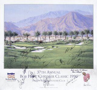 PAYNE STEWART - AUTOGRAPHED SIGNED POSTER 1996 CO-SIGNED BY: WILLIAM DEVANE, JIM PALMER, TOM KITE JR., FUZZY ZOELLER, SANDY LYLE, JOHN COOK, JOHN ELWAY, BRAD FAXON, JOHN DENVER, STEVE GARVEY, ENGELBERT HUMPERDINCK, LESLIE NIELSEN, ANDY WILLIAMS, BILLIE ANDRADE, DAVE CHAPPLE