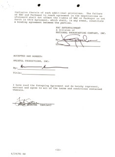 FRANK SINATRA - CONTRACT SIGNED 06/05/1981