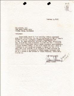 JAMES JIMMY STEWART - DOCUMENT SIGNED 02/05/1958