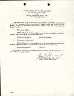 BARBRA STREISAND - DOCUMENT SIGNED 08/06/1985