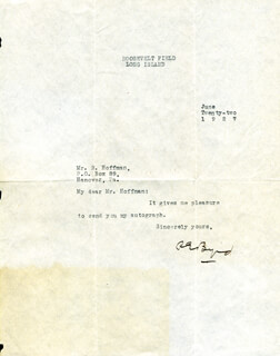 Autographs: REAR ADMIRAL RICHARD E. BYRD - TYPED LETTER SIGNED 06/22/1927