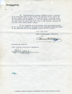 LOUIS B. MAYER - DOCUMENT SIGNED 10/08/1929