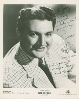 LIBERACE - AUTOGRAPHED INSCRIBED PHOTOGRAPH 11/26/1952