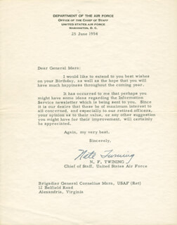 GENERAL NATHAN TWINING - TYPED LETTER SIGNED 06/25/1954