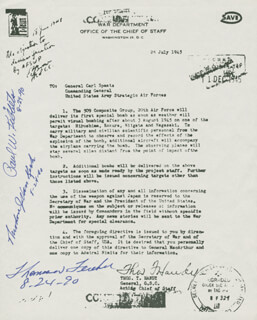 Autographs: ENOLA GAY CREW - PRINTED DOCUMENT SIGNED IN INK CO-SIGNED BY: ENOLA GAY CREW (THEODORE VAN KIRK), ENOLA GAY CREW (PAUL W. TIBBETS), ENOLA GAY CREW (COLONEL THOMAS W. FEREBEE)