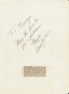DAVID NELSON - AUTOGRAPH NOTE SIGNED