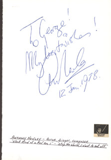 ANTHONY NEWLEY - AUTOGRAPH NOTE SIGNED 01/12/1978