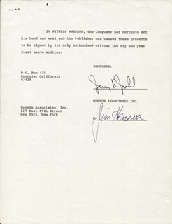 JIM HENSON - CONTRACT SIGNED 02/01/1972 CO-SIGNED BY: JERRY R. JUHL